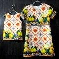 European American jacquard prints sleeveless / short sleeve pleats holiday beach skirt mother daughter dresses kids girls skirts