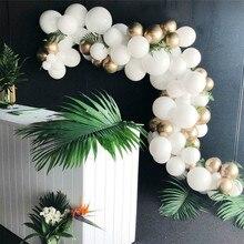 133 Pcs 금색과 흰색 풍선 아치 체인 웨딩 풍선 아치 갈 랜드 장식 키트 생일 파티 장식 arco de globos
