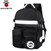Senkey Style Men Backpack Luminous Package Glow Letter School Bags For Teenagers Travel Student Designer Laptop Backpack women