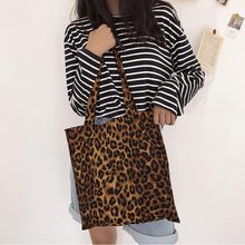 Pure Cotton Leopard Print Canvas Bag Fashion Ladies Shoulder Large capacity Handbags Totes Women Sisters Confidante Gift Bags(China)