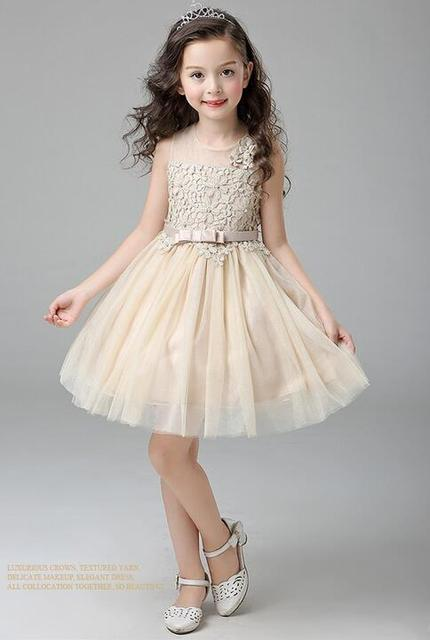 874716531bb Champagne Lace Evening Gown Flower Wedding Princess Dress Girls Children  Clothing Kids Dresses for Girl Clothes