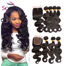Bloomy 8A Brazilian Virgin Hair Body Wave With Closure Meches Bresilienne Lots Avec Closure Ms Lula Hair With Closure And Bundle