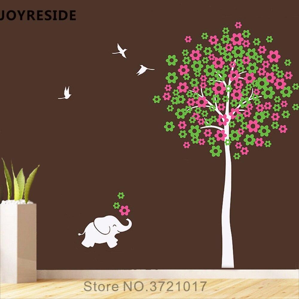Motif arbre joyeux petit éléphant Sticker mural fleurs Sticker mural vinyle décor maison enfants chambre décor intérieur Design A855