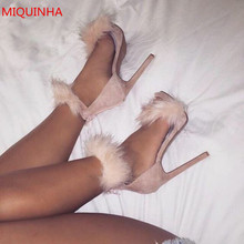 Suede Embellished Faux Fur Gladiator Sandals Ankle Wrap Platform Open Toe Stiletto High Heel Summer Shoes Woman MIQUINHA