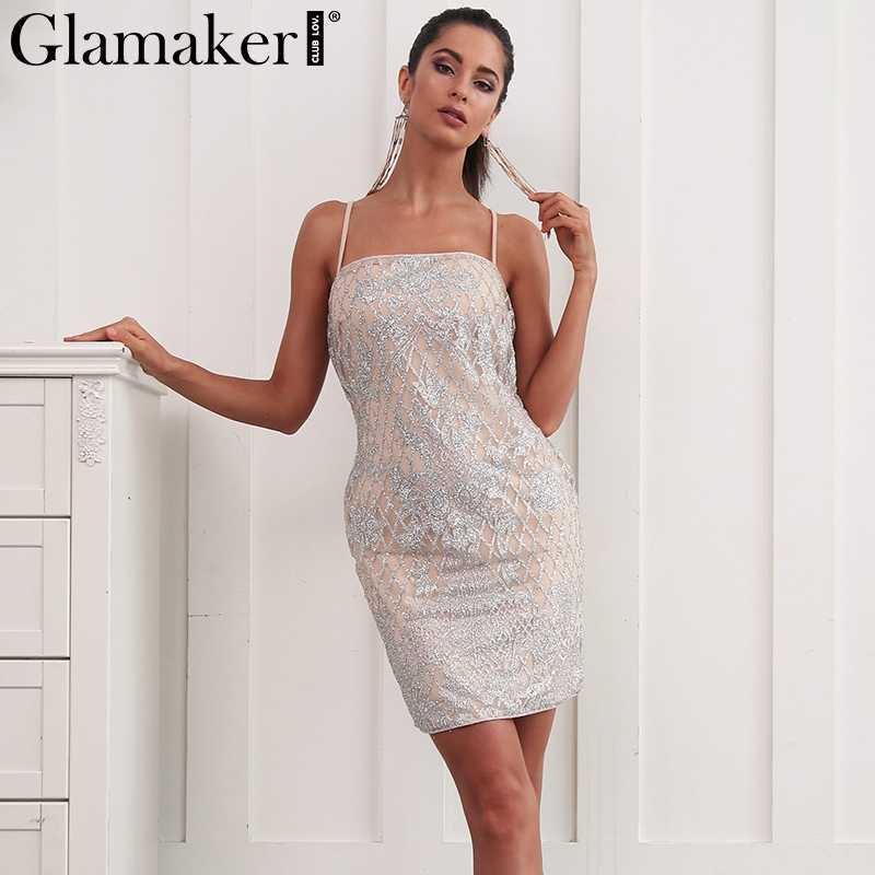 2d17d9834f464 Glamaker Sequin sexy mini sundress Women sleeveless slim bodycon dress  Elegant summer club female party dress vestidos