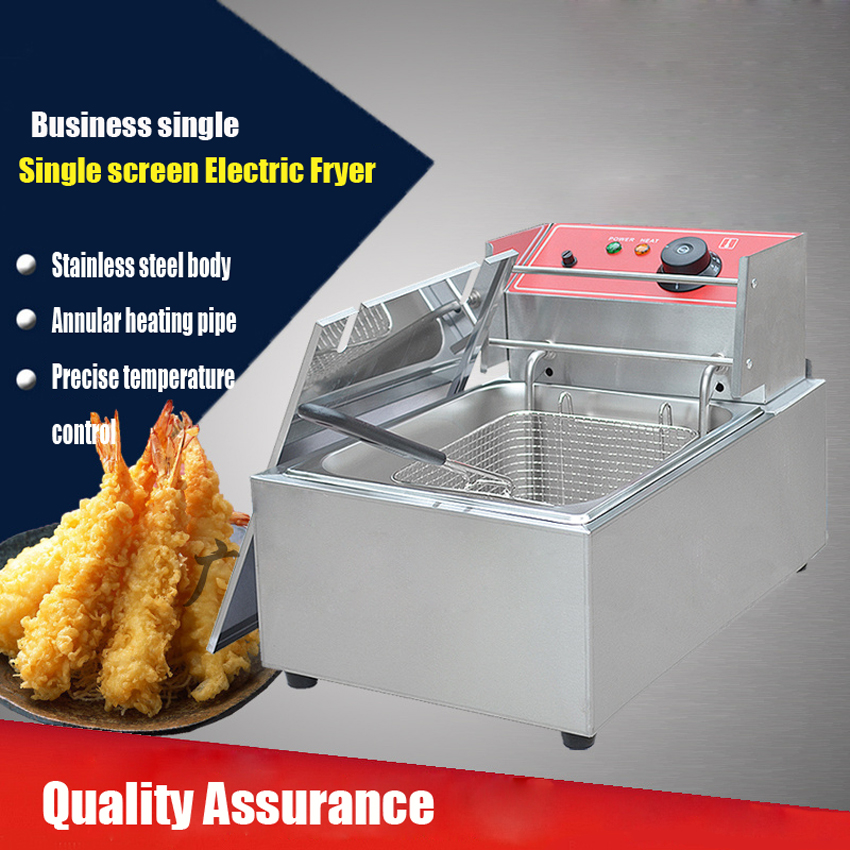 1PC Single cylinder electric fryer, commercial fryers, donut machine, french fries machine, fried chicken fryer fries machine commercial double screen cylinder electric deep fryer french fries machine oven pot frying machine fried chicken row eu us plug