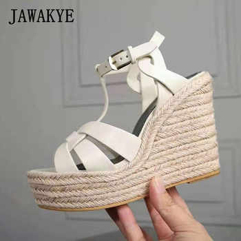 JAWAKYE Women Sandals Wedges Shoes for Women High Heels Peep Toe T Ankle Strap Platform Sandals zapatos party high heels Shoes - DISCOUNT ITEM  31% OFF Shoes