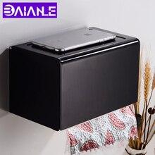 Caja de soporte de papel higiénico con estante, soporte para papel de cocina creativo de aluminio negro, decorativo, Portarrollos de papel de baño montado en la pared