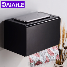 Toilet Paper Holder Box with Shelf Creative Aluminum Black Paper Towel Holder Decorative Bathroom Roll Paper Holder Wall Mounted