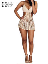 HEE GRAND 2018 Summer Women Beach Dress Backless Dresses Sexy Beige Cutout Hollow Out Crochet Bodycon Halter Mini Dresses WOZ069(China)
