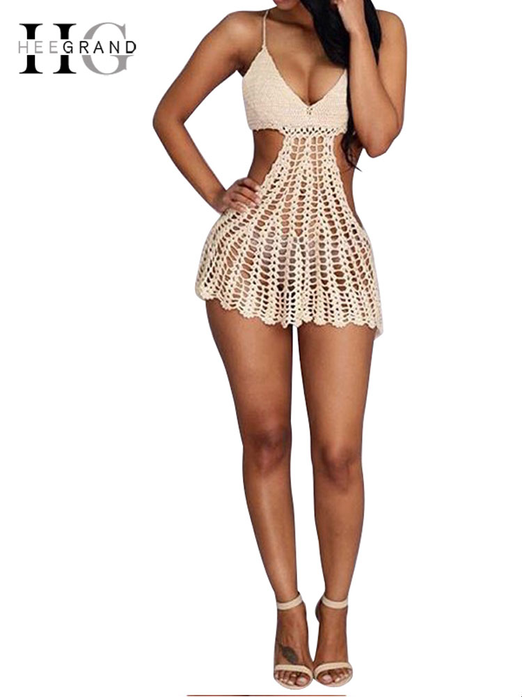 HEE GRAND 2018 Summer Women Beach Dress Backless Dresses Sexy Beige Cutout Hollow Crochet Bodycon Halter Mini Dresses WOZ069