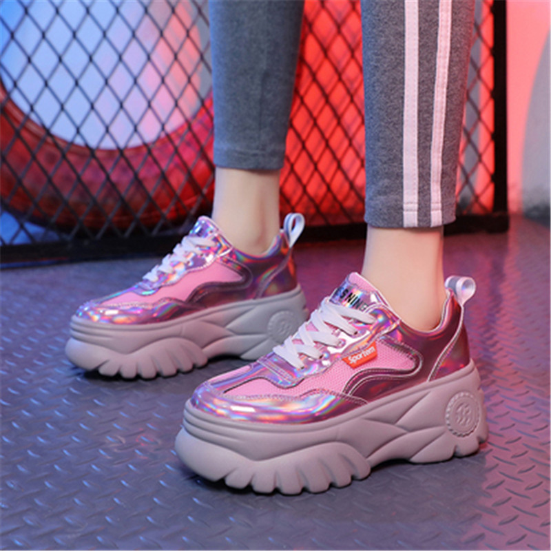 2019 New Fashion Spring summer leather Sequin jogging beige white sneakers women Ultralight damping Breathable Mesh shoes woman in Women 39 s Pumps from Shoes