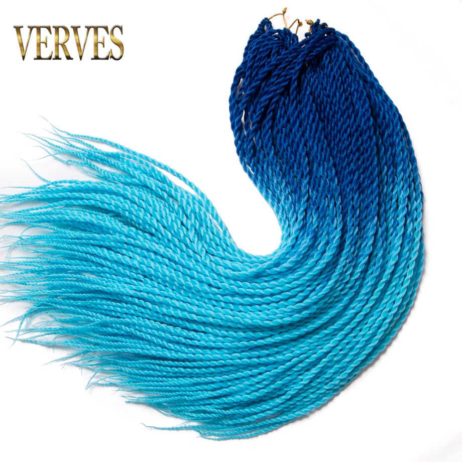 VERVES 24 дюймов inch Ombre Senegalese Twist Hair 30 Roots вязаный крючком pack косы Синтетические плетение волос для женщин серый, bonde, розовый, коричневый