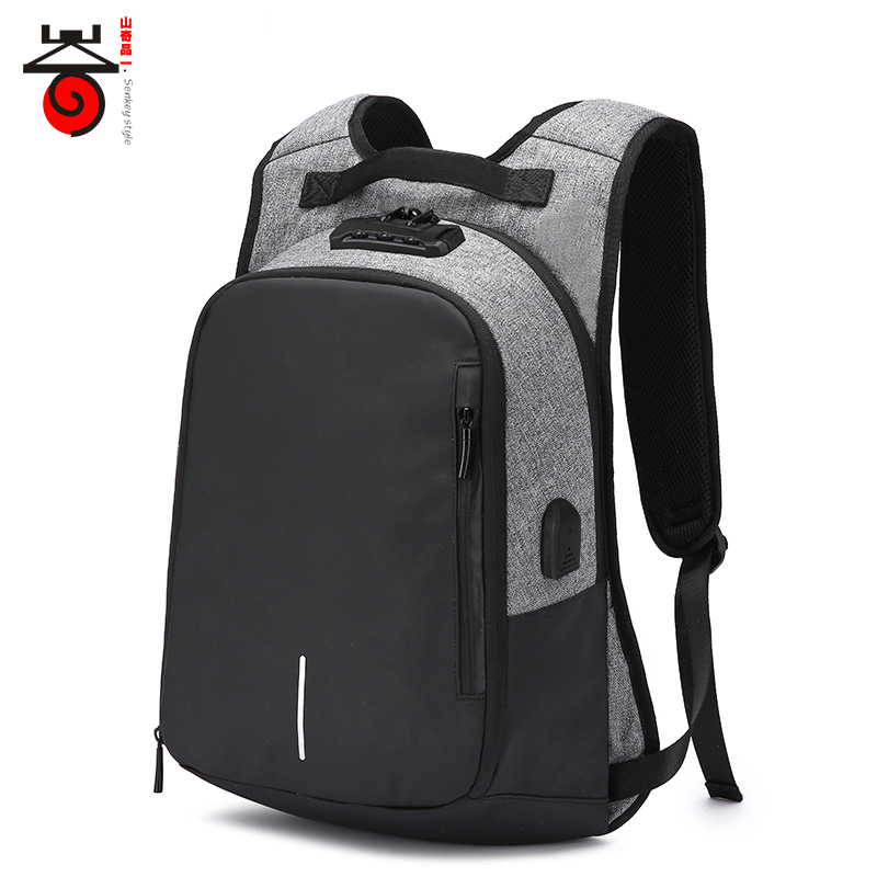 New Design Luxury Coded Lock Backpack Men's External USB Charge Laptop Backpack For Teenager Fashion Male Leisure Travel Mochila