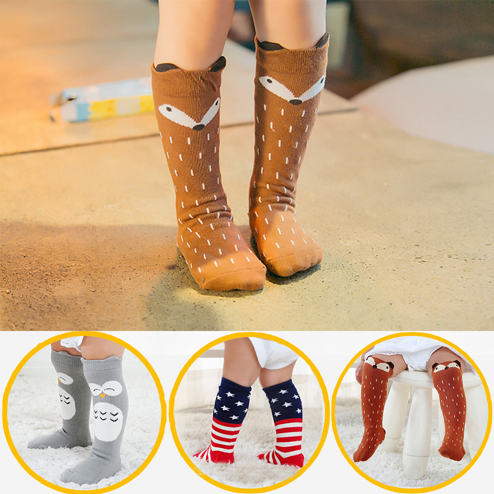 1 Pair Unisex Cartoon Cute Cotton Sock Clothes Toddler Infant Knee High Long Socks For Baby Infant Cute Animal Kids 0-3 Y