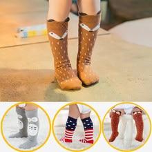 1 çift Unisex Karikatür Sevimli Pamuklu Çorap Giysileri Toddler Bebek Diz Yüksek Uzun Çorap Bebek Bebek Sevimli Hayvan Çocuklar 0-3 Y