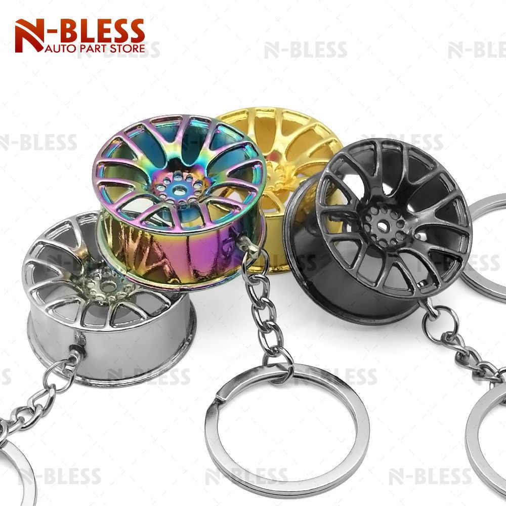 Hot bánh xe trung tâm Tự Động Chìa Khóa Xe Chuỗi vòng chìa khóa JDM sáng tạo bánh xe rim móc chìa khóa móc chìa bánh xe rim keychain