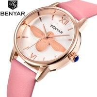 BENYAR Fashion Casual Quartz Watch Women Leather Strap Luxury Dress Ladies Watches Bee Waterproof Gold Silver