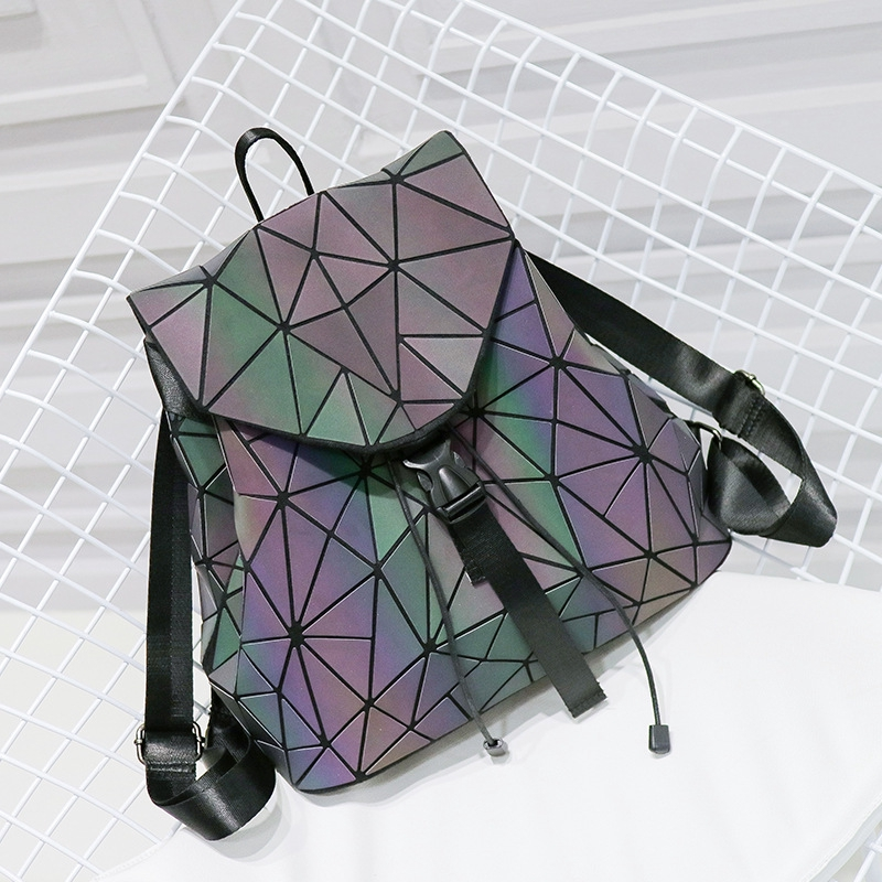 Laser Luminous backpack folding parcel splicing travel bag folding diagonal backpack Bags For Teenage Girls in Backpacks from Luggage Bags