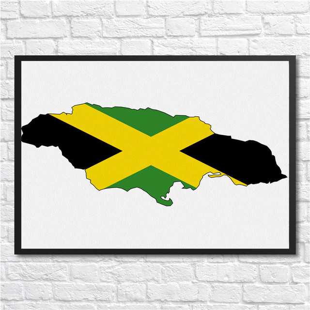 Modern Coated poster Jamaica Flag library country map World Map ...