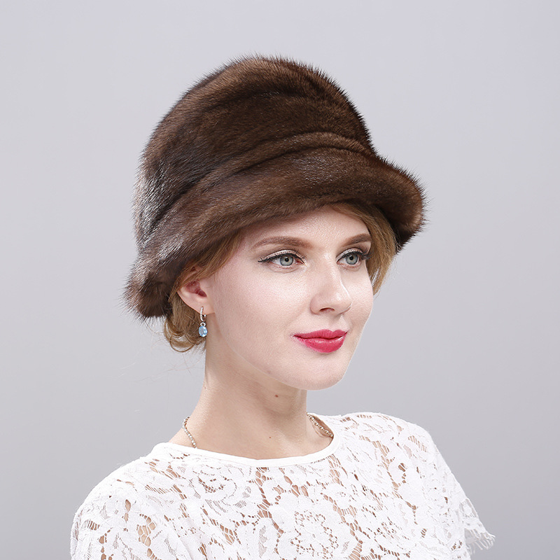 Whole mink fur hats women mink fur hats ladies autumn and winter Korean warm middle-aged and elderly floret hat hm015 real genuine mink fur hat winter hats for women whole piece mink fur hats