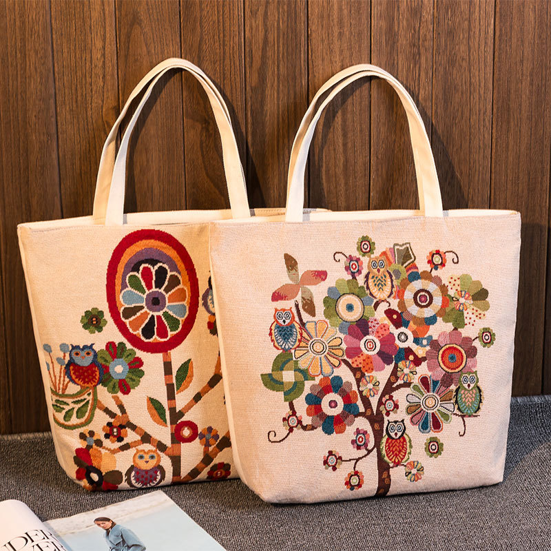 Shopping Bags Well-Educated Yile Zippered Handbag Eco Shopping Tote Jacquard Weave Fabric Owls On Tree 239bd