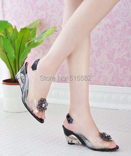 2018 hot new fashion crystal transparent wedges sandals women spring summer open toe flowers high heels pumps large size 33 43