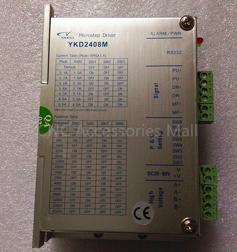 цена на YAKO stepper motor driver 2 phase step drive 42-86mm series DC20-80V 4.0A YKD2408M for cnc router engraver and cutting machine
