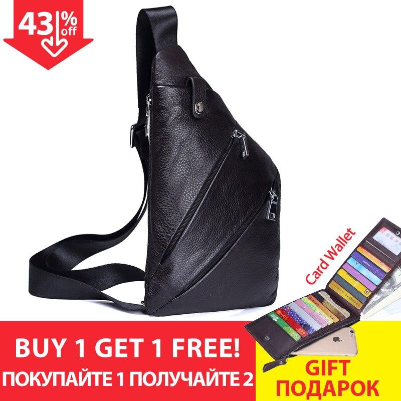 MISFITS nouveau en cuir véritable hommes poitrine sac mode sac à bandoulière hommes Messenger sacs en cuir de vache voyage Pack pour homme sac à bandoulière - 2