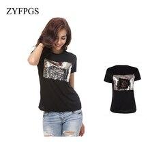 ZYFPGS 2019 Summer Six Color Black White T Shirt Women Printed Sequins T-Shirt Tops Tee Femme  Female L0513