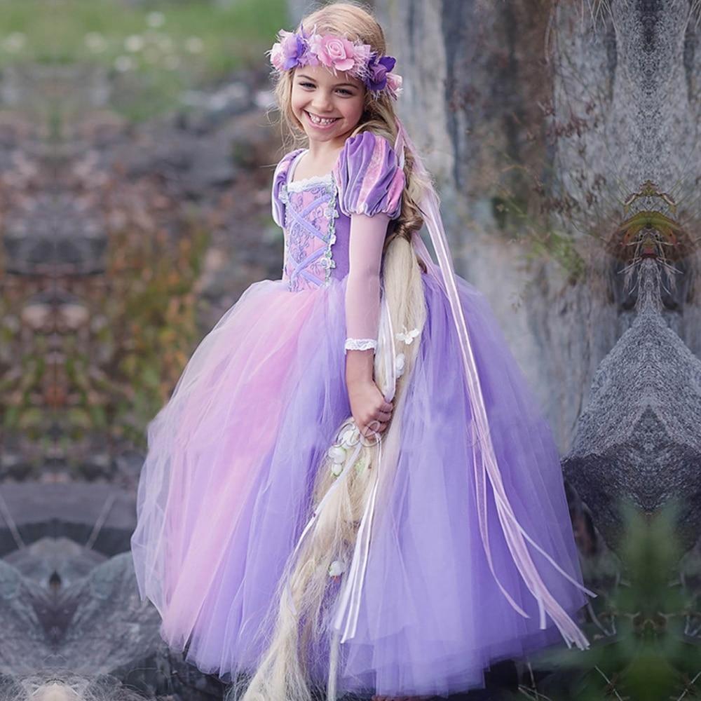 Kids Girls Princess Sofia Rapunzel Dresses Full Ball Gown Long Party Dress Children Clothing Kids Cosplay