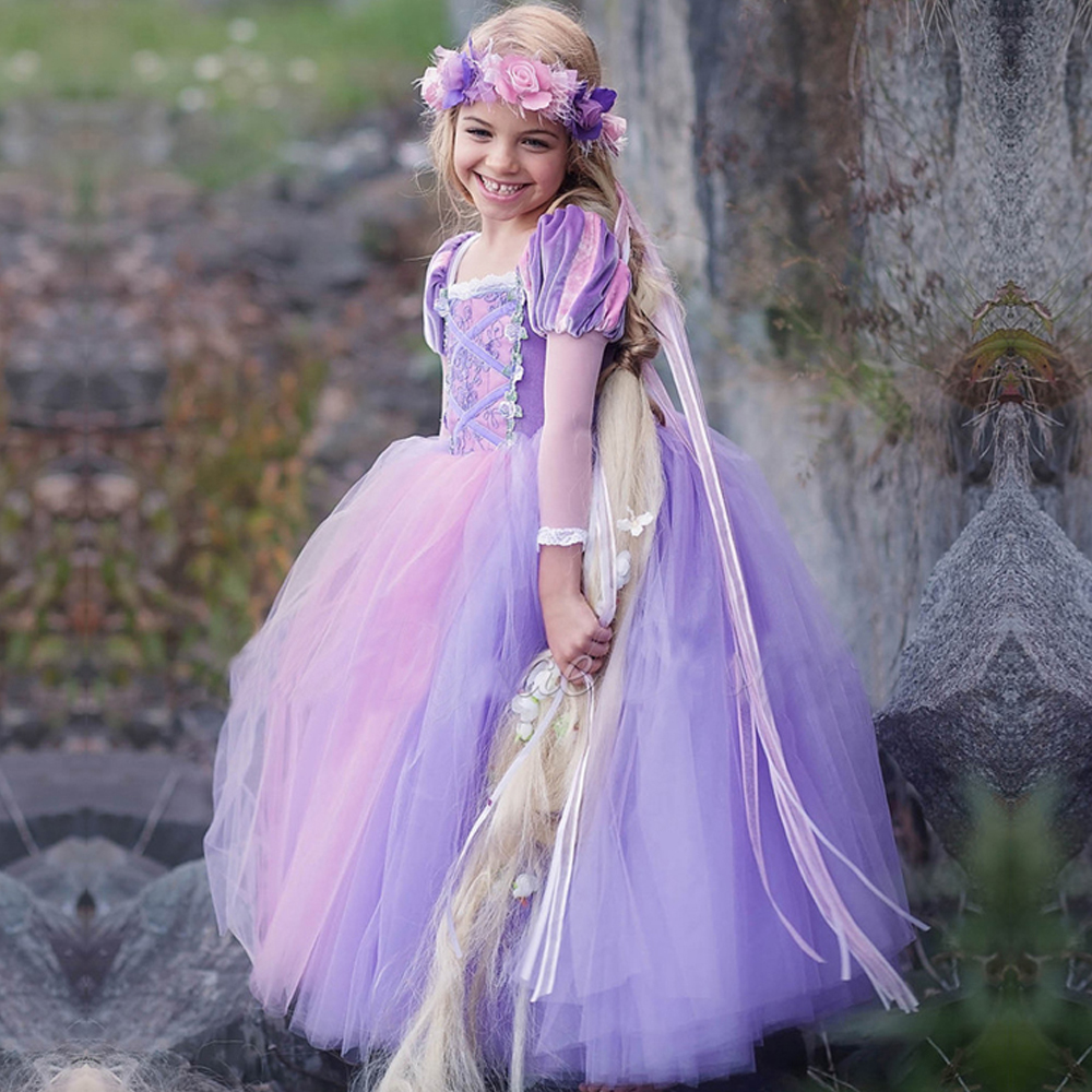 Kids Girls Princess sofia Rapunzel Dresses Full Ball Gown Long Party Dress Children Clothing Kids Cosplay Costume Masquerade купить