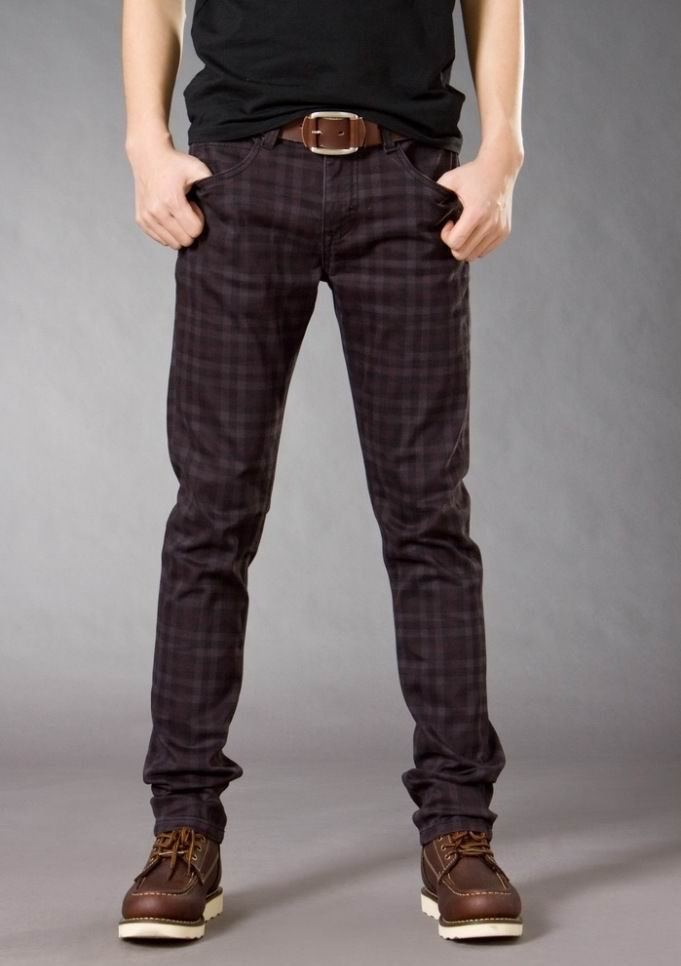 Free shipping 2012 new designer brand skinny jeans for men, brown checked fabric, 98%cotton 2%spandex, slim fit, size 28 to 36