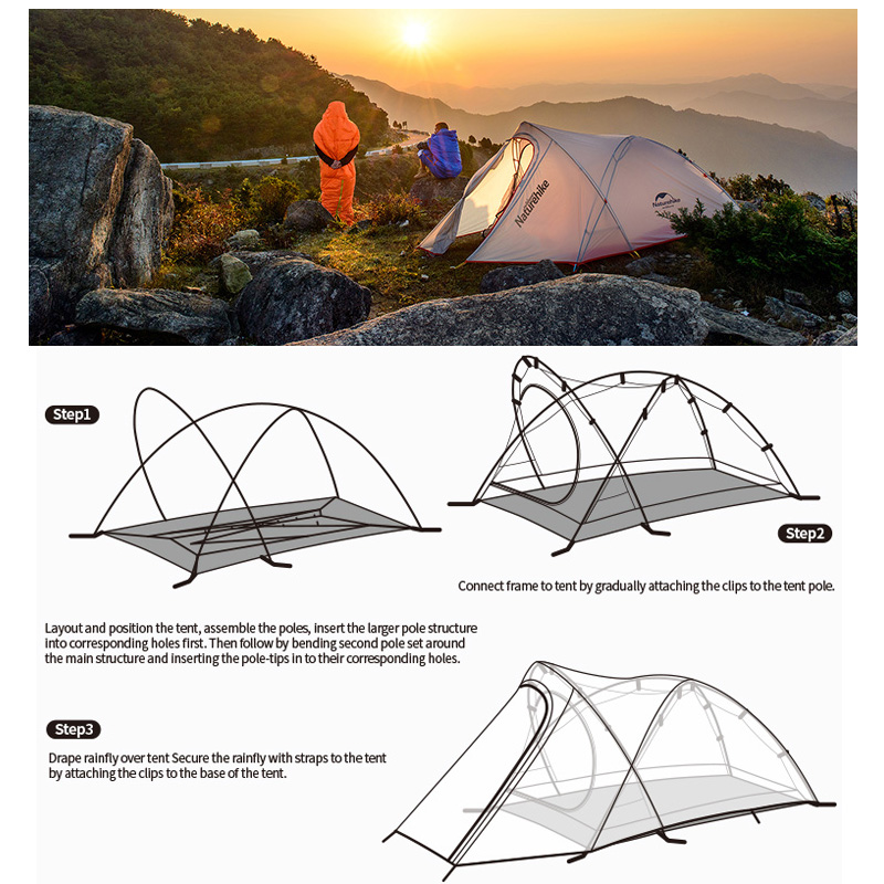Naturehike Tent Camping 2 Person Rainproof 20D Silicone Double Layer Hiking Beach Picnic Holiday Outdoor 2 Colors Camp Tent 5