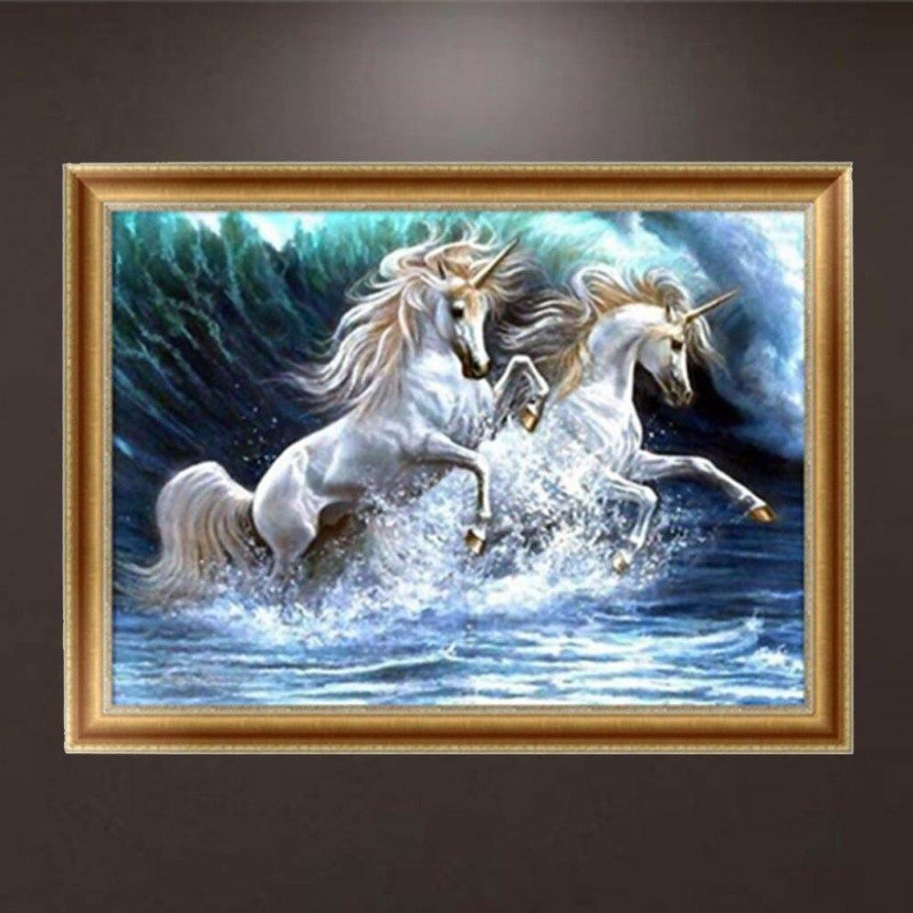 New Promotion DIY 5D Diamond Horse Embroidery Painting Cross Stitch DIY Art Craft Home Room Decor APR19_40