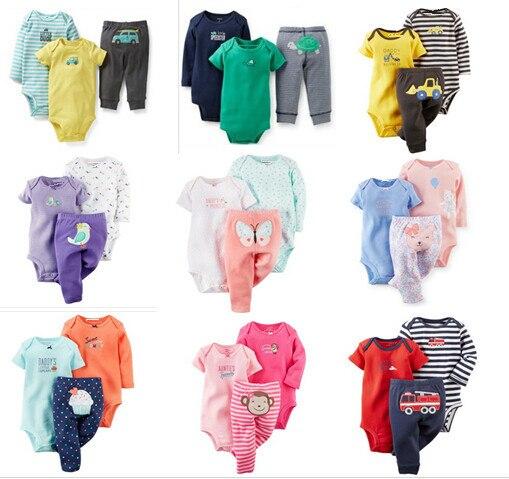 SY001 2015 Новая девочка и мальчик комплект одежды с короткими и с длинным рукавом боди + брюки детской одежды костюм младенца розничная