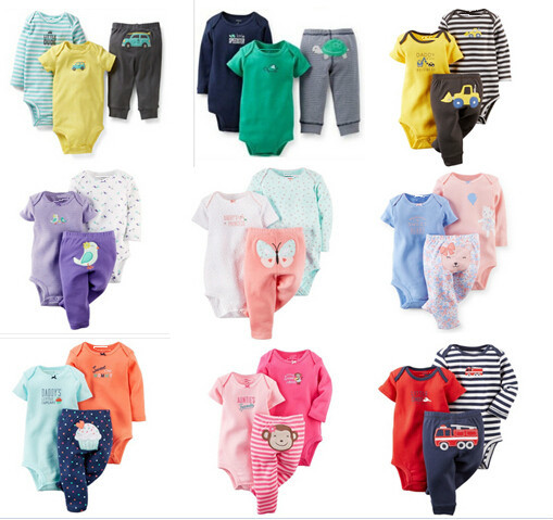 SY001 2015 New girl and boy clothing set with short and long sleeve bodysuit + pants infant clothing baby suit retail