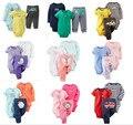 SY001 2015 Nova menina e menino roupas conjunto com curta e manga comprida bodysuit + calças infantis roupas terno do bebê varejo
