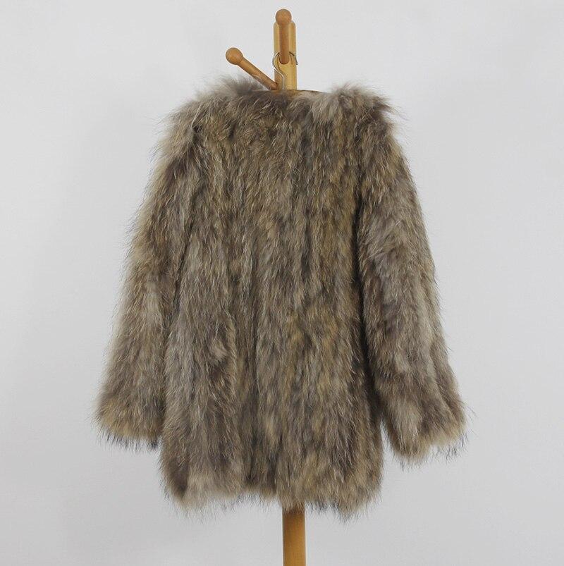 2018 Natural Color Casual Hiver La Taille Réel Naturel Vestes Femmes De Fourrure Neck Pleine Manteaux Plus Mode Raton O Tricoté Manches Laveur RR1ZTr