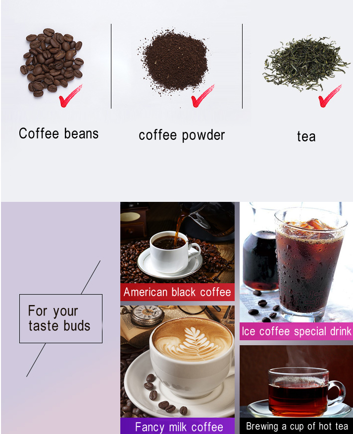 Fully Automatic American Coffee Machine Maker Grinder Household Portable Small Grinding Coffee, Bean Powder, Tea