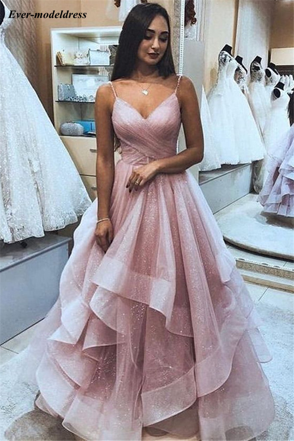 Shiny Pink   Prom     Dresses   Long V-Neck Open V-Back Pleats Floor Length Charming Evening Party Gowns Vestido De Festa 2019 Customize