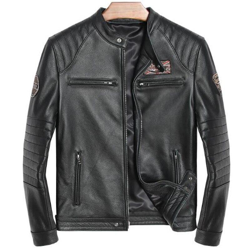 Genuine Leather Jacket Men Vintage Winter Autumn British England Style Jacket Men Fahion Real Cow Leather Coat Plus Size 5XL 6XL