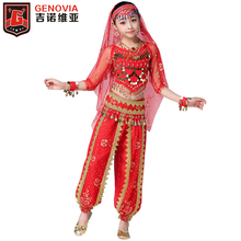 2019 Long Sleeve Kid Girls Belly Dancing Costume Performance Indian Dance Children Girl Bellydance Egypt Costumes 8 pcs