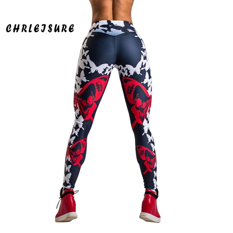 CHRLEISURE Push Up Leggings mujeres poliéster mariposa imprimir Slim pantalones alta cintura de trabajo de moda Legging para la muchacha