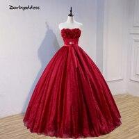 Darlingoddess Vestido De Noiva Burgundy Ball Gown Wedding Dresses 2018 Off the Shoulder Flowers Lace Wedding Gown Robe De Mariee