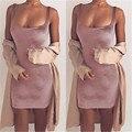 Мода Элегантные Новых Женщин Летние Дамы Сексуальный Бархат Bodycon Рукавов U Шеи Партии Клуба Носите Свободную Короткое Платье