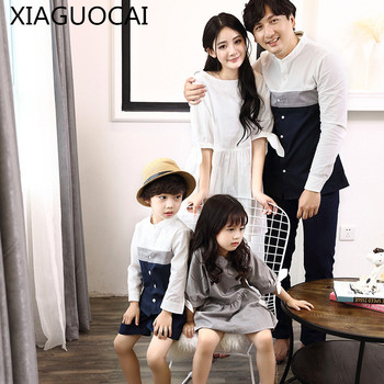 2019 Family Matching Outfits Mother White Dress Daughter Grey Dresses Father son T shirts Blouse Family Vacation Clothes D1 10