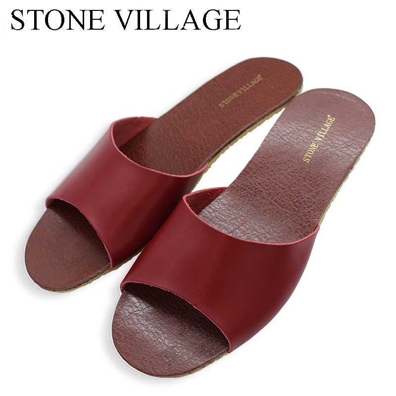 STONE VILLAGE Genuine Leather Slippers Summer Men And Women Slippers Indoor Flooring Non-Slip Home Slippers 9 Colors