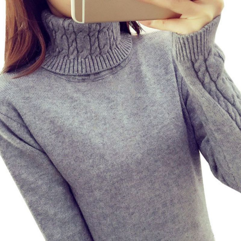 Women Sweaters Pullovers Winter Warm Turtleneck Twisted Thickening ...