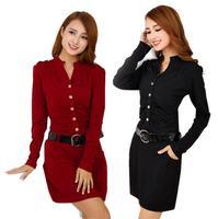 New 2018 autumn Sexy V neck Dress women Slim Package Hip Fashion Business OL Career Dresses Women Vestidos r129